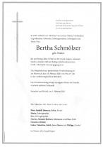 Bertha Schmölzer, gestorben am 05.02.2021