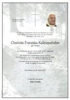 Charlotte Franziska Kaßmannhuber, gestorben am 26.01.2021