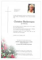 Christine Biedermann, gestorben am 28.10.2020