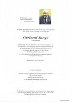 Gerhard Sange, gestorben am 22.05.2021