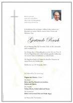 Gertrude Rasch, gestorben am 28.11.2020