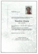 Karoline Ghesla, gestorben am 17.04.2021