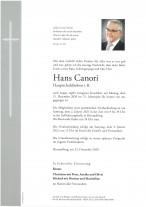 Hans Canori, gestorben am 21.12.2020