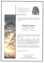 Heidi Lackner, gestorben am 08.01.2021