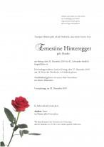 Ernestine Hinteregger, geb. Harder, gestorben am 20.12.2019