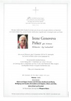 Irene Genoveva Pirker, gestorben am 09.12.2020