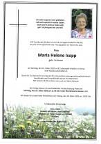 Maria Helene Isopp, gestorben am 23.02.2020