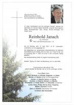 Reinhold Janach, gestorben am 12.04.2021
