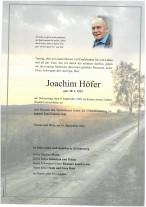 Joachim Höfer, gestorben am 09.09.2021