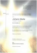 Johann Malle, gestorben am 25.05.2021