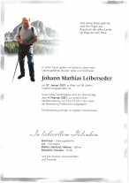 Johann Mathias Leibetseder, gestorben am 27.01.2021