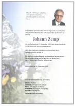 Johann Zemp, gestorben am 25.12.2020