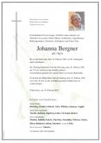 Johanna Bergner, gestorben am 10.02.2021