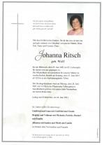 Johanna Ritsch,gestorben am 23.06.2021