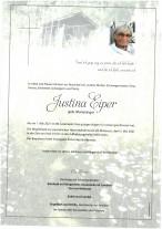Justina Eiper, gestorben am 01.05.2021