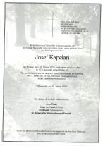 Josef Kapelari, gestorben am 20.01.2020