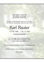 Karl Rauter, gestorben am 04.12.2020