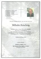 Wilhelm Krischnig, gestorben am 05.08.2020