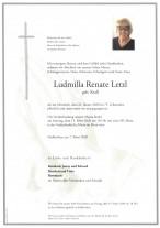 Ludmilla Renate Letzl, gestorben am 22.01.2020