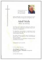 Adolf Malle, gestorben am 16.04.2021