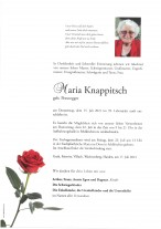 Maria Knappitsch, gestorben am 15.07.2021