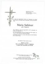 Maria Sabitzer, gestorben am 25.08.2021
