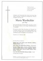 Maria Wartbichler, gestorben am 04.12.2020