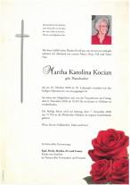Martha Karolina Kocian, gestorben am 25.10.2020