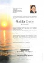 Mathilde Grieser, gestorben am 13.02.2021