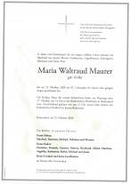 Waltraud Maurer, gestorben am 22.10.2020