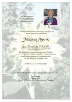 Mirjana Popovic`, gestorben am 10.03.2021