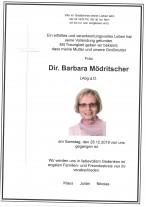 Dir. Barbara Mödritscher, LAbg.a.D., gestorben am 28.12.2019