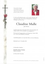 Claudine Mulle geb. Duriaux, gestorben am 26.12.2019
