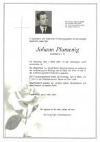 Johann Plamenig, gestorben am 02.03.2021