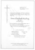 Anna Elisabeth Rachoy, geb. Weidt; gestorben am 26.01.2020