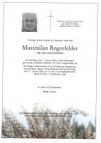 Maximilian Regenfelder vlg. Jure und Lendorfer, gestorben am 07.