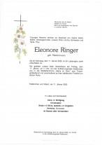 Eleonore Ringer, geb. Biedermann; gestorben am 11.01.2020