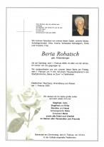 Berta Robatsch, geb. Köstenberger, gestorben am 01.02.2020
