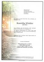Roswitha Winkler, gestorben am 26.05.2021