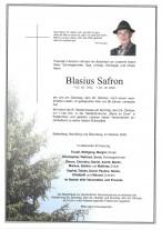 Blasius Safron, gestorben am 20.10.2020