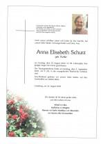 Anna Elisabeth Schurz, gestorben am 30.08.2020