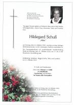 Hildegard Schuß, gestorben am 25.10.2020