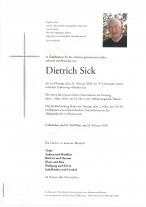 Dietrich Sick, gestorben am 24.02.2020