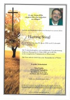 Hartwig Stingl, gestorben am 30.01.2020