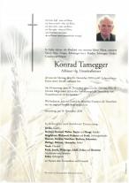 Konrad Tamegger, gestorben am 16.11.2020