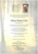 Hans Heinz Uhr gestorben am 30.11.2020