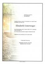 Elisabeth Unterweger, gestorben am 23.01.2020