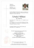 Ursula Hillitzer, gestorben am 01.10.2021