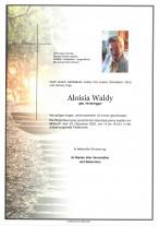 Aloisia Waldy, gestorben am 17.12.2020