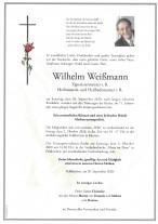 Wilhelm Weißmann, gestorben am 26.09.2020